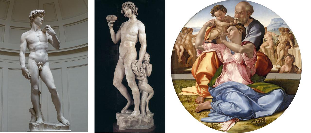 画像: ダビデ像(アカデミア美術館)バッカス像(バルジェロ美術館)トンド・ドーニ 聖家族(ウフィツィ美術館)