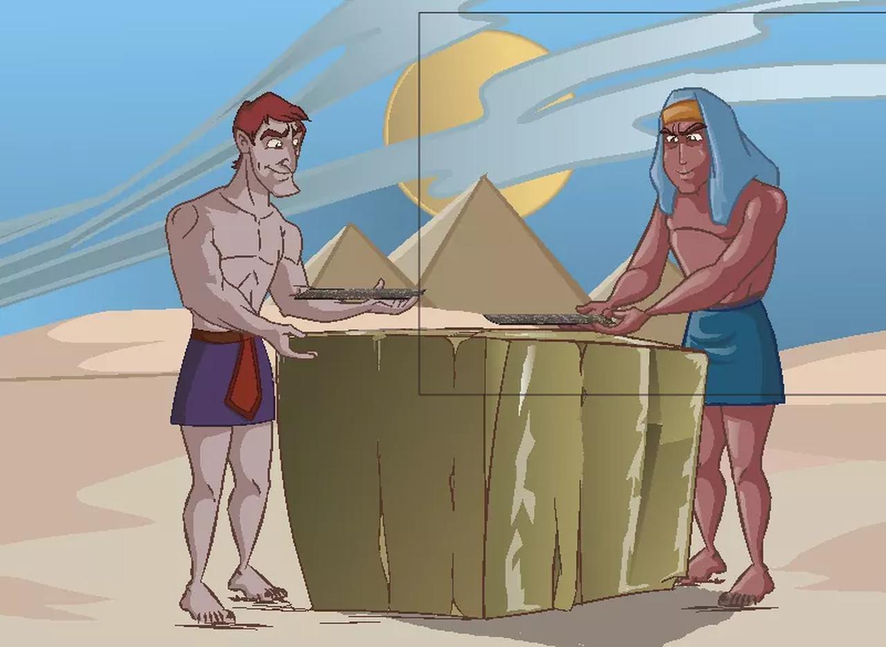 画像: キュービットを使いピラミッドの石の大きさを調整する様子(イメージ)