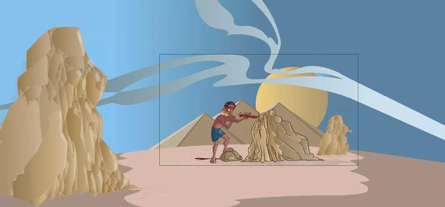 画像: 岩からピラミッドに使う石を切りだす作業(イメージ)