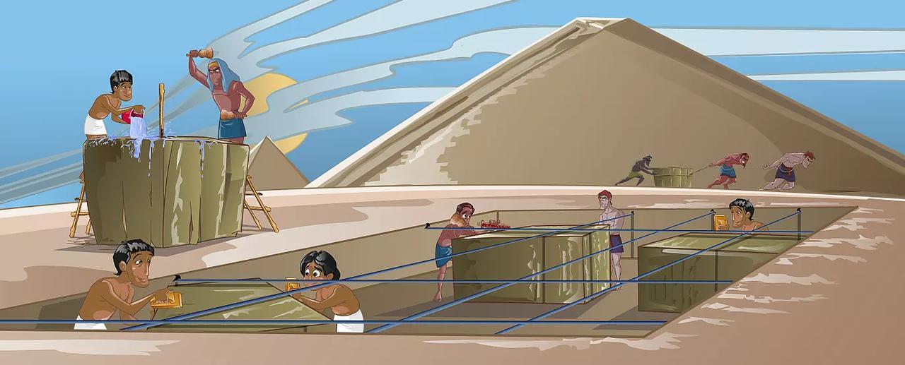 画像: ピラミッド土台作りの様子(イメージ)