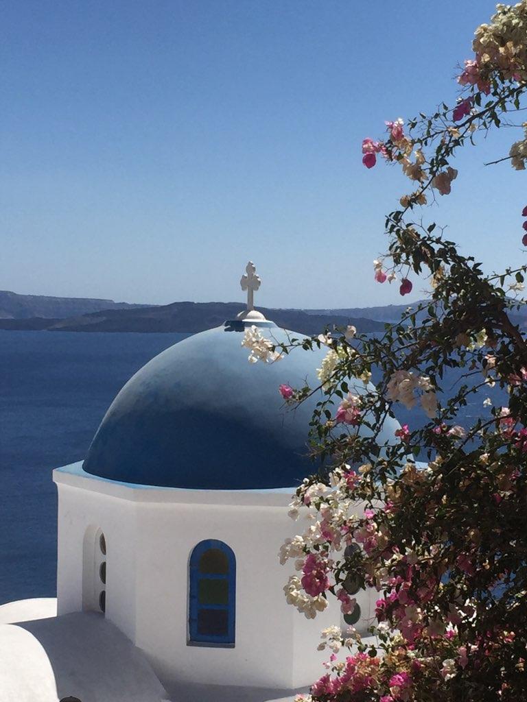 画像: 青のドームとブーゲンビリア(イメージ)