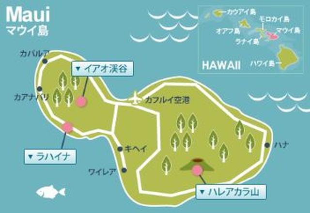 画像: 中央部に空港やパイア、西部には歴史あるラハイナ、東部にはハナがある