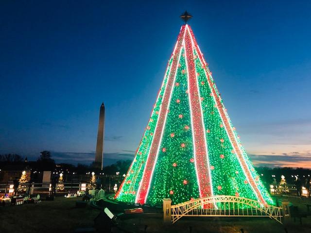 画像: ワシントンD.C.付近の夜のクリスマスツリー(イメージ)