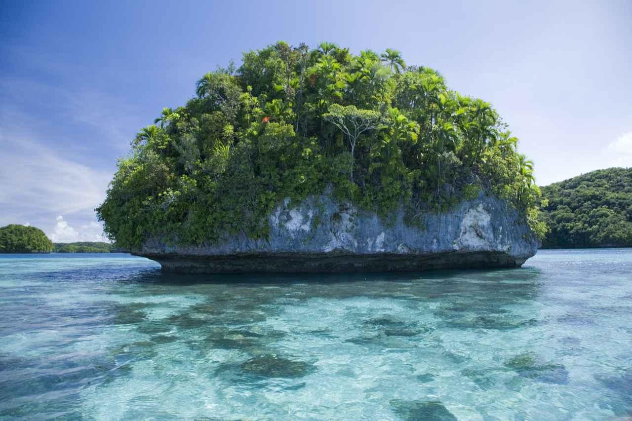 画像: キノコ型の島。他にも様々な形の島々を見る事が出来ます。(弊社スタッフ撮影)