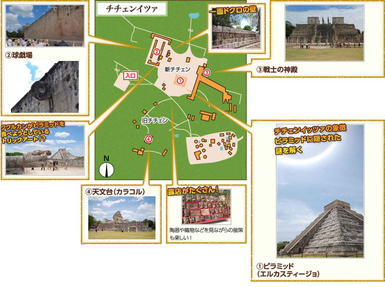 画像: チチェンイッツァのマップ(弊社作成・クラブツーリズムホームページより引用)