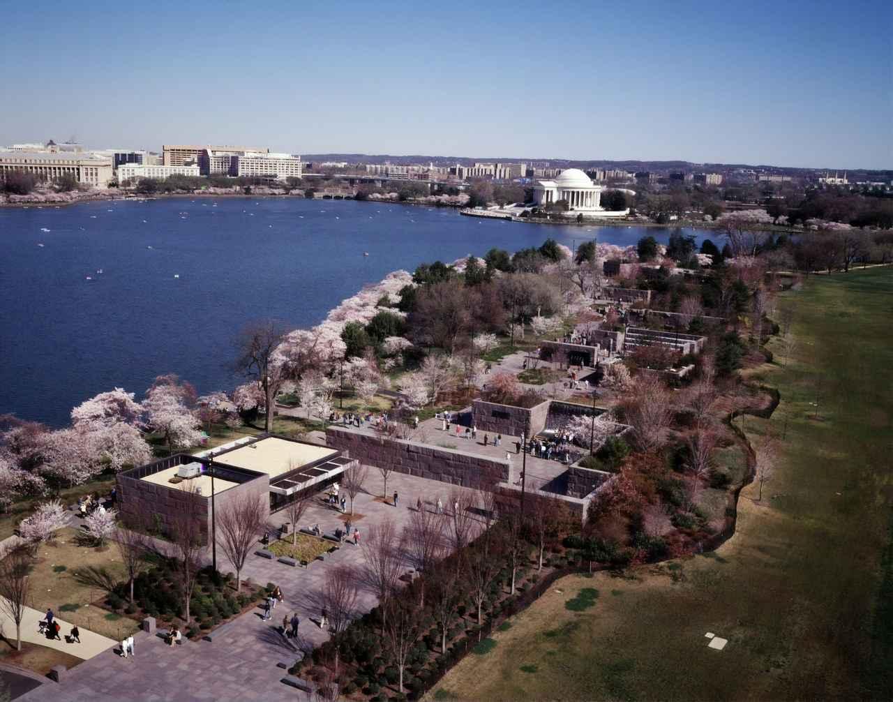 画像: 上から見たタイダルベイスンと桜(イメージ)