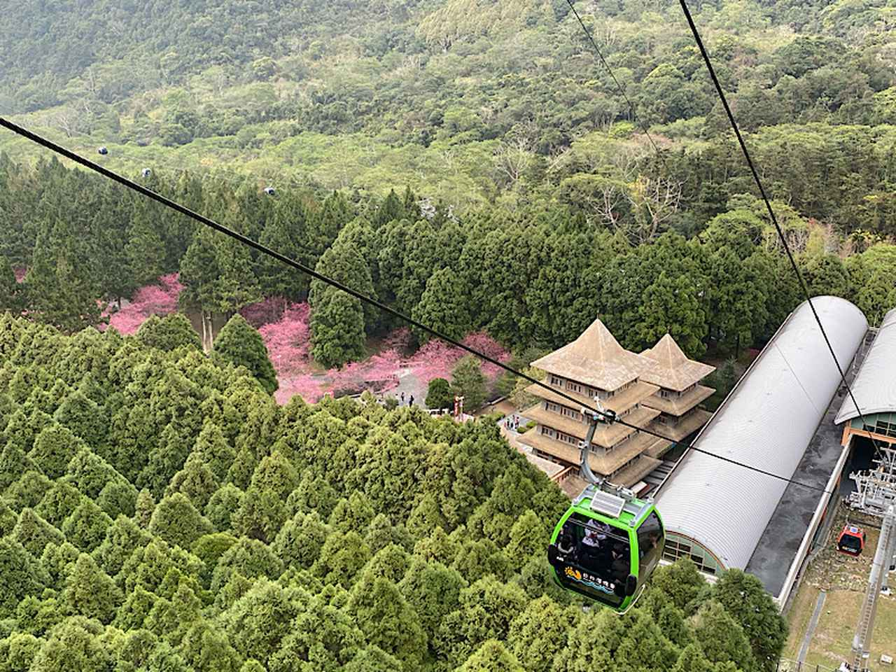 画像: 日月潭ロープウェイから九族文化村の上部を見下ろしています/弊社スタッフ撮影(2020年2月10日)