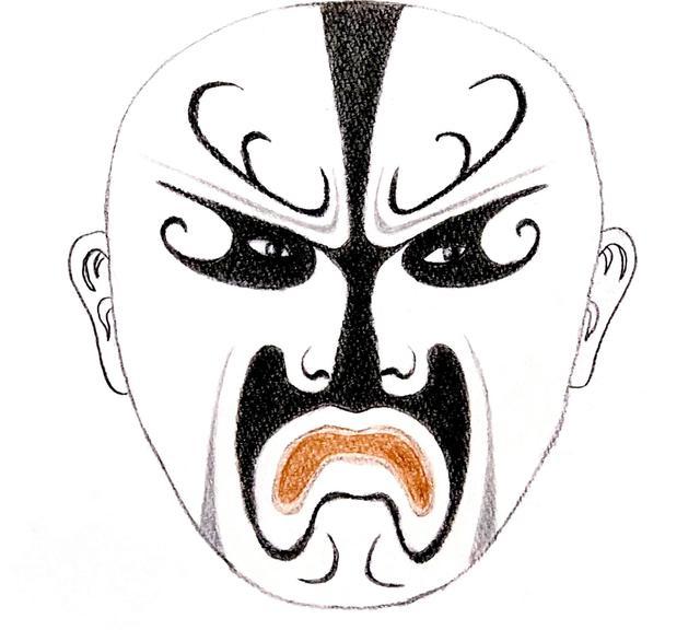 画像: 北京オペラの曹操の顔のくまどり 白い顔が邪悪な人の印
