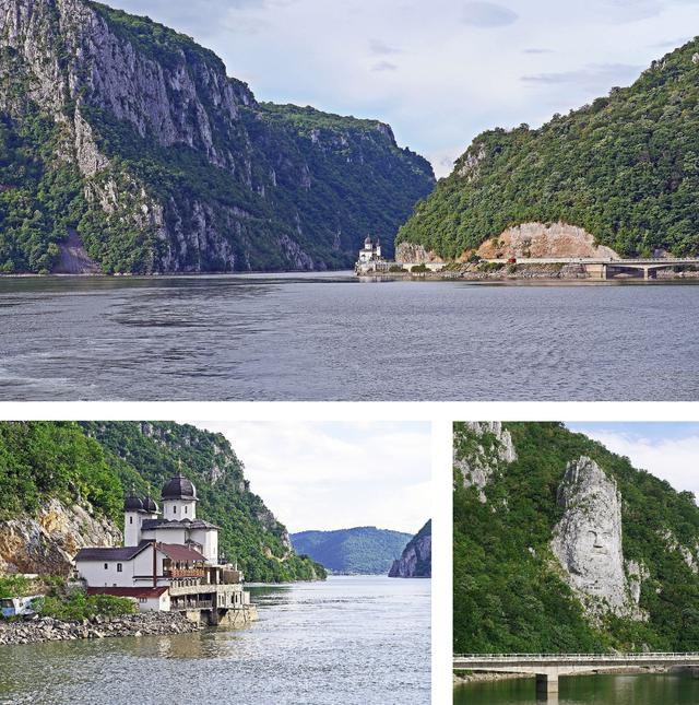 画像: 上/一気に川幅も狭まり、岩山が迫る  右下/ダキア族の王、デケバルスの石像 左下/川岸に建つ教会         この地の統一を記念し、約2000年前に10年かけて作られたとのこと
