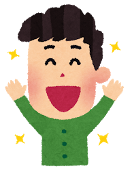 嬉しい表情の男性のイラスト(6段階)