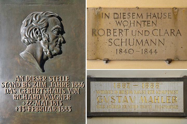画像: ワーグナー生家跡の銘板/シューマン住居跡の銘板/マーラー「交響曲第1番」作曲の銘板