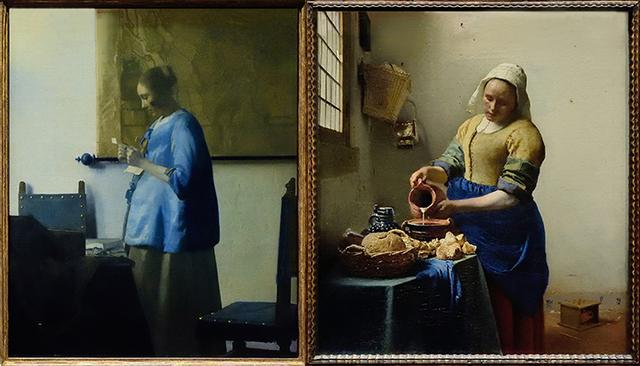 画像: アムステルダム国立美術館所蔵の「手紙を読む青衣の女」と「牛乳を注ぐ女」