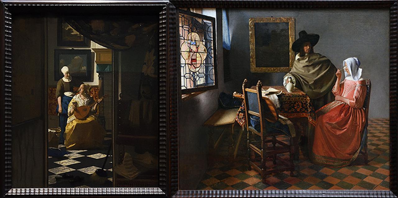 画像: アムステルダム国立美術館所蔵の「恋文」とベルリン絵画館所蔵の「紳士とワインを飲む女」