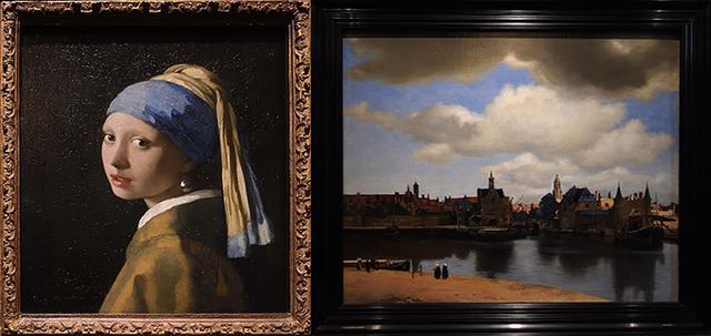 画像: 左から「真珠の耳飾りの少女」、「デルフトの眺望」(デン・ハーグ・マウリッツハイス美術館蔵)