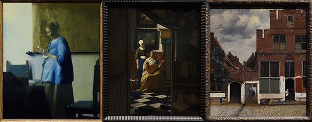 画像: 左から「手紙を読む青衣の女」、「恋文」、「小路」(アムステルダム国立美術館蔵)