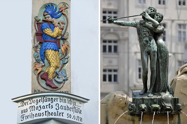 画像: 「魔笛」の初演劇場跡にあるパパゲーノの彫像とモーツァルト広場にある噴水