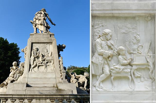 画像: 銅像の背後に刻まれたモーツァルト一家のレリーフ