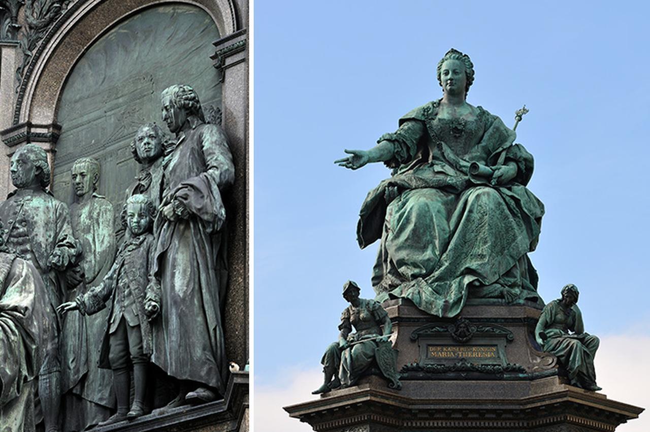 画像: マリア・テレジア座像と少年モーツァルトのレリーフ