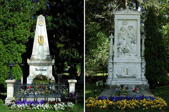 画像: ベートーヴェンとシューベルトの墓