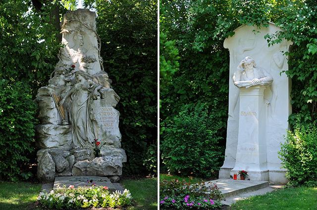 画像: ヨハン・シュトラウスとブラームスの墓