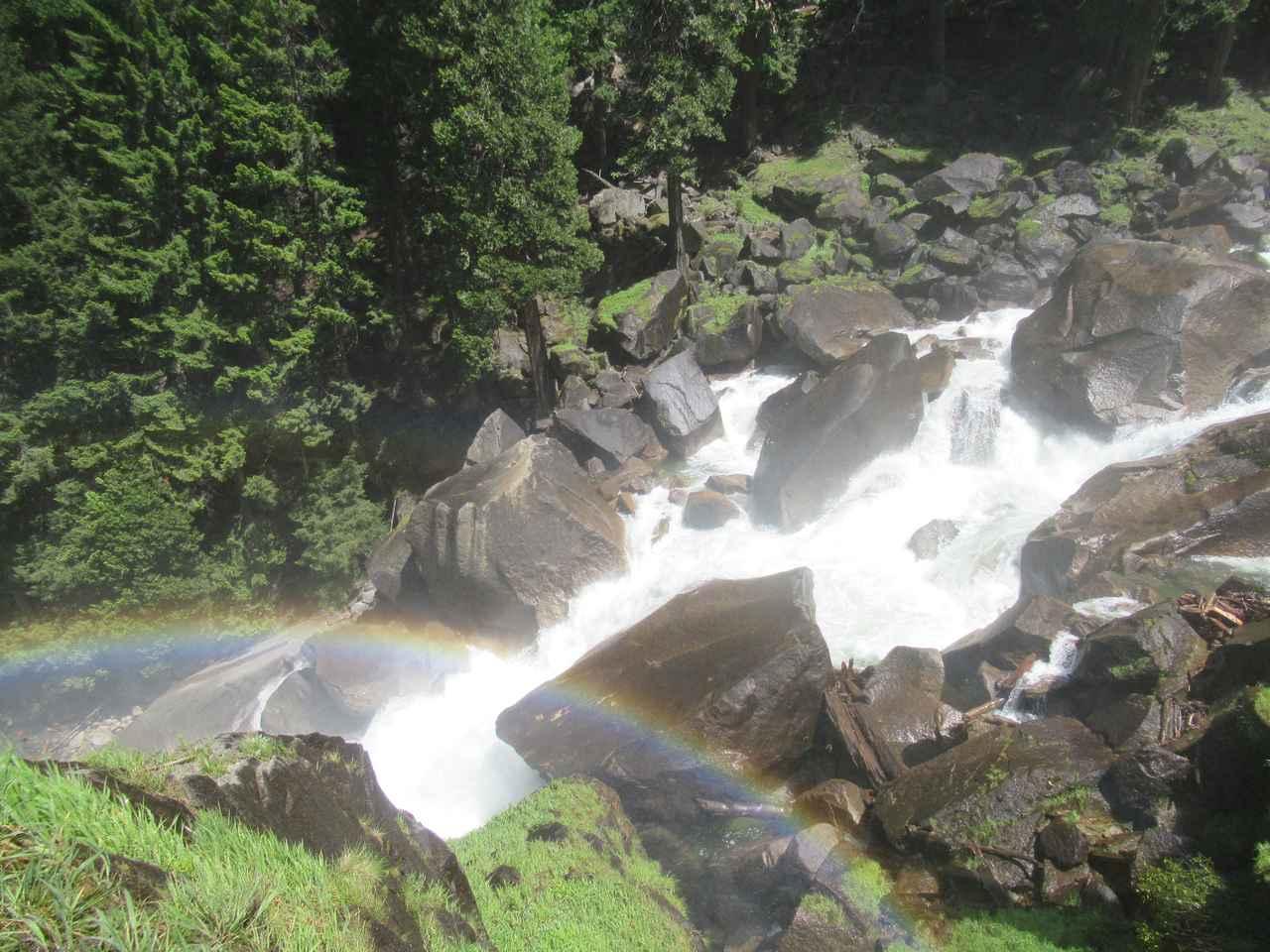 画像: ハイキング中の風景―水しぶきが気持ちい!虹もきれいでした!
