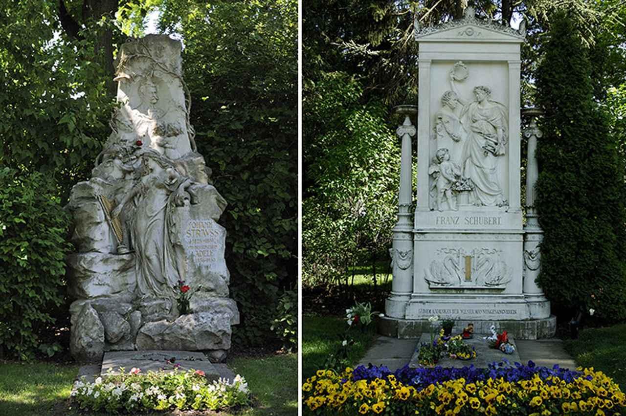 画像: 左/中央墓地にあるヨハン・シュトラウス2世の墓 この裏側にヨハン・シュトラウス1世などファミリーが眠っている。 右/ベートーヴェンの墓の右隣にあるシューベルトの墓