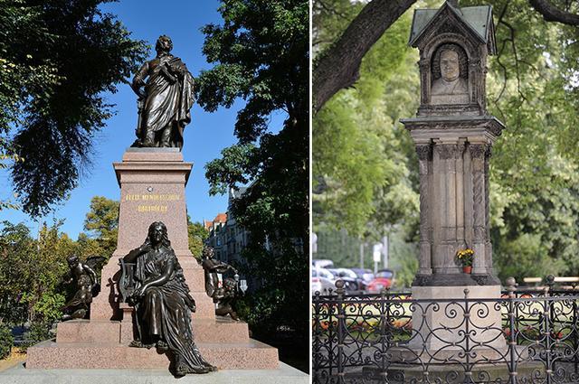 画像: メンデルスゾーン像とバッハ記念石柱