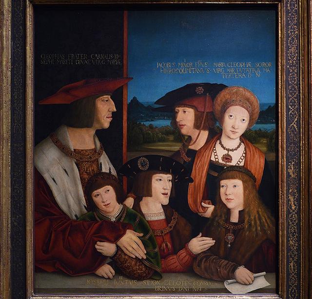 画像: マクシミリアン1世(上左)やカール5世(下中央)が描かれた絵 ウィーン美術史美術館蔵