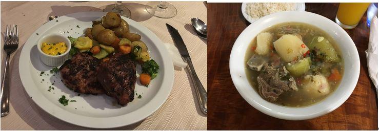 画像: コスタリカの食事 左:ビーフ/右:オジャ・デ・カルネ