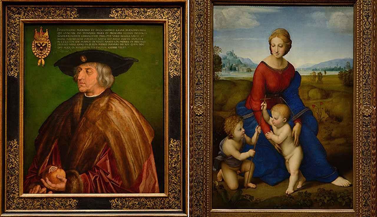 画像: デューラー作「マクシミリアン1世肖像画」 ラファエロ作「草原の聖母」 ウィーン美術史美術館蔵