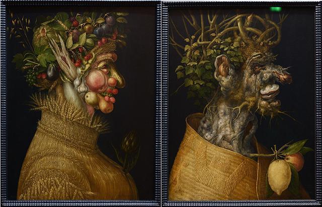 画像: アルチンボルド作「夏」「冬」 ウィーン美術史美術館蔵