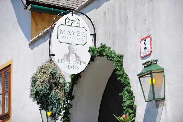 画像: 「ホイリゲ」の店先に逆さに吊してある赤松の枝の束