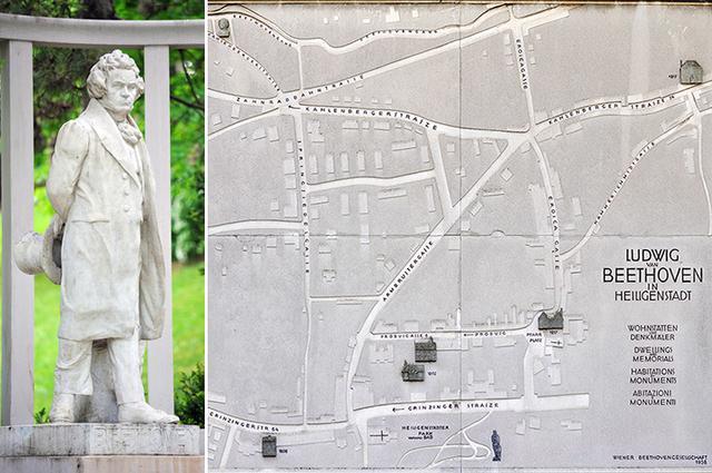 画像: 散策中のベートーヴェン像とハイリゲンシュタットのベートーヴェンゆかりの地