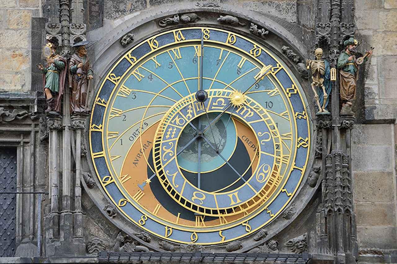 画像: 天動説に基づく天文図文字盤