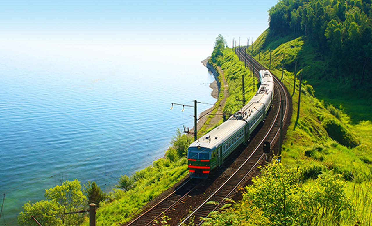 画像1: シベリア鉄道とバイカル湖(イメージ)