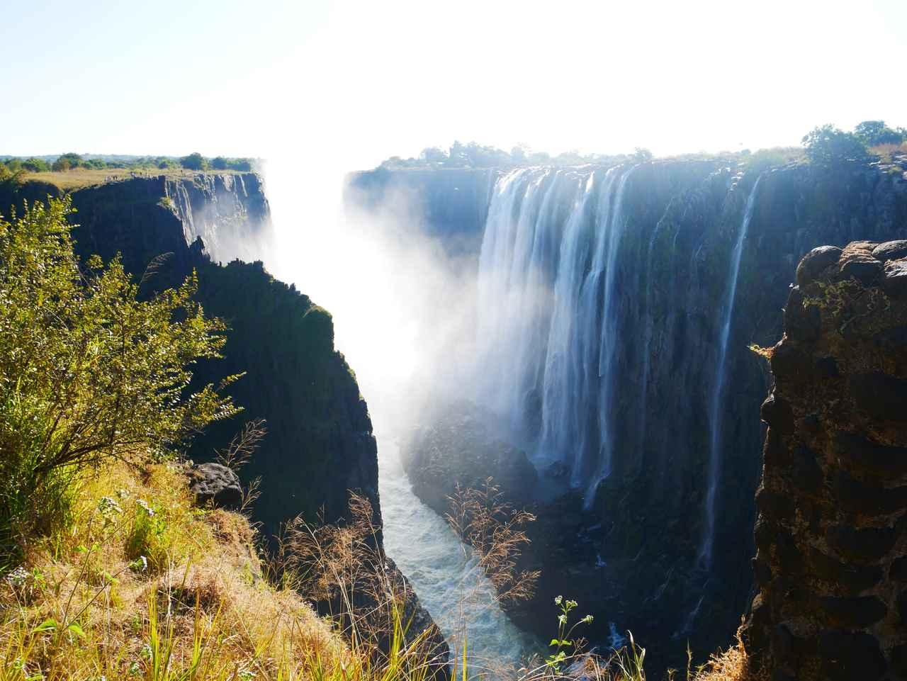 画像: ザンビア側から見たビクトリアの滝(2019年7月 担当者撮影)