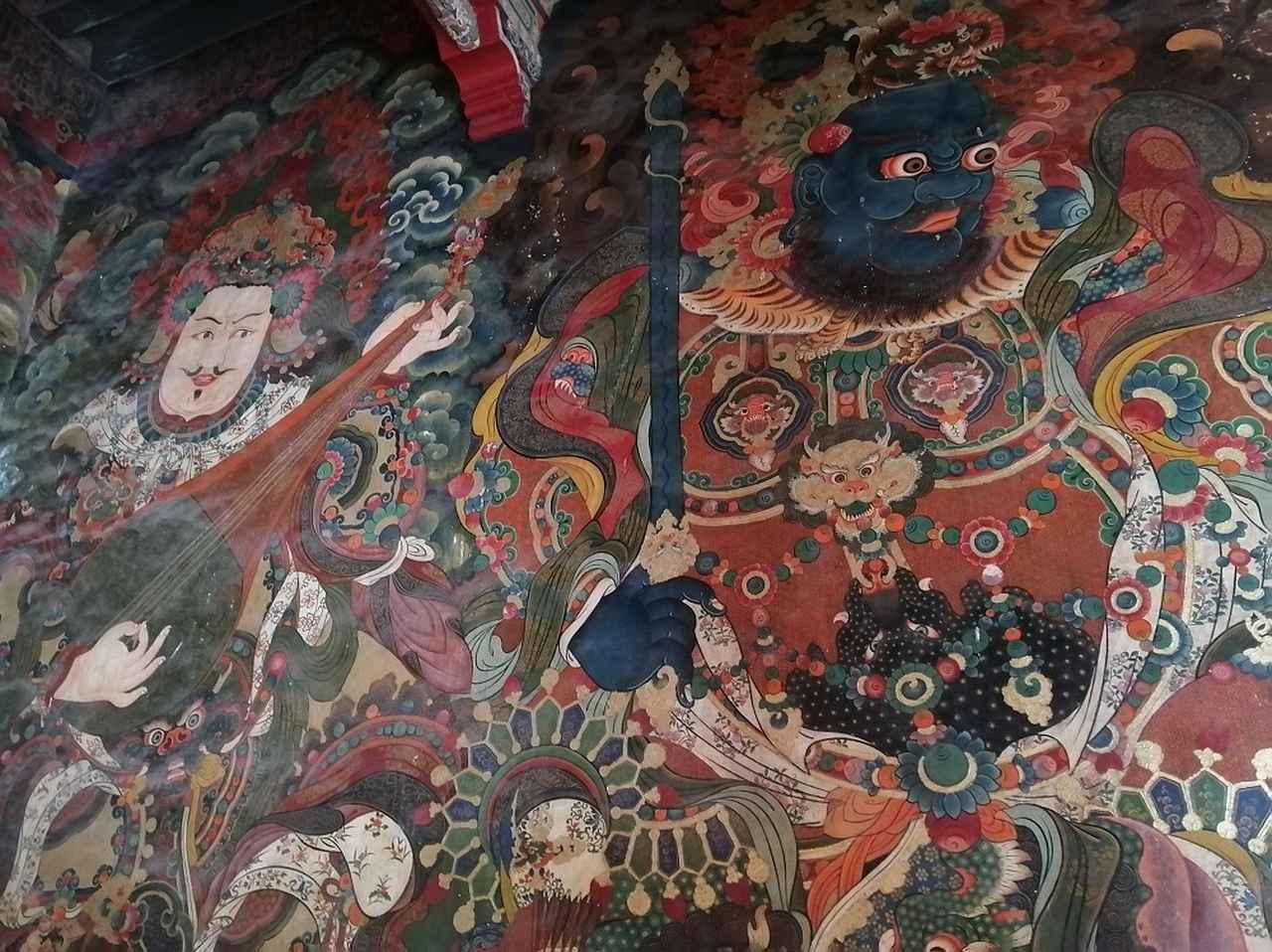 画像: 仏教に関わる壁画にいたるところに描かれている