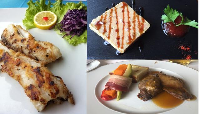 画像: マデイラと言えば黒太刀魚(左側)、前菜のチーズ(右上)、鶏肉のグリル(右下)(弊社スタッフ撮影)