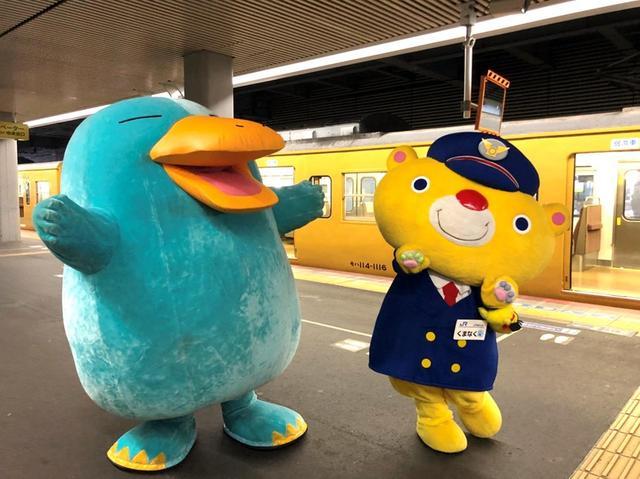 画像: 出発の岡山駅では「イコちゃん」「くまなく・たびにゃん」がお見送りに来てくれました!