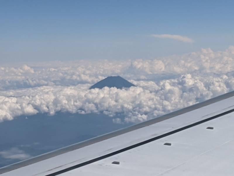 画像: 機内から眺める富士山