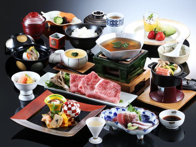 画像: 4日目宿泊「有馬グランドホテル」の神戸牛付きの夕食イメージ