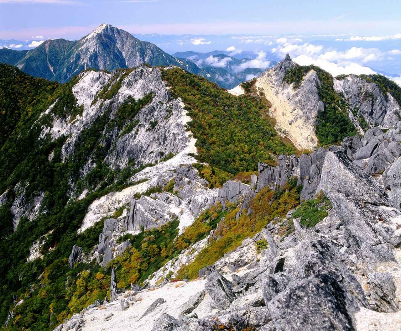 画像: 地蔵岳(右)と甲斐駒ヶ岳(左奥)を眺める(イメージ)