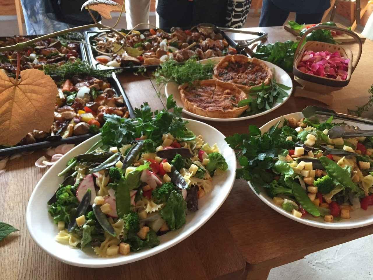 画像: とれたて野菜のコブサラだやキッシュやチキンも。