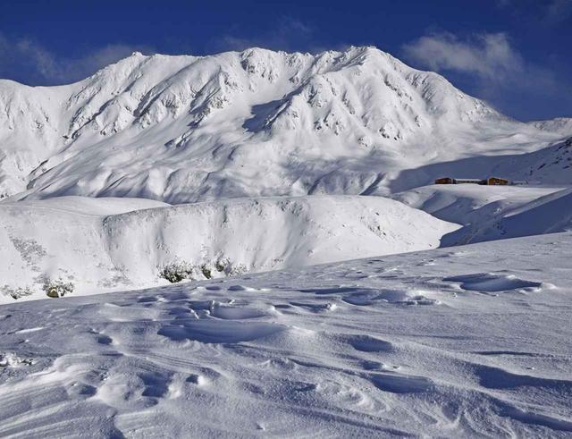 画像: 室堂ではシュカブラと神々しい立山が迫る(11月)