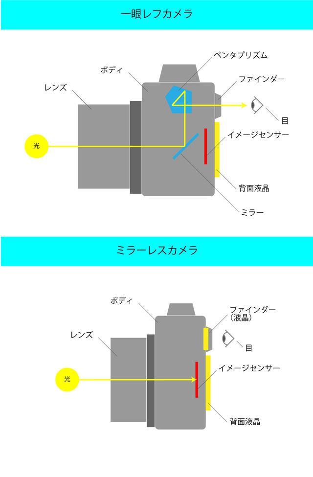 画像: 一眼レフとミラーレスの構造の違い