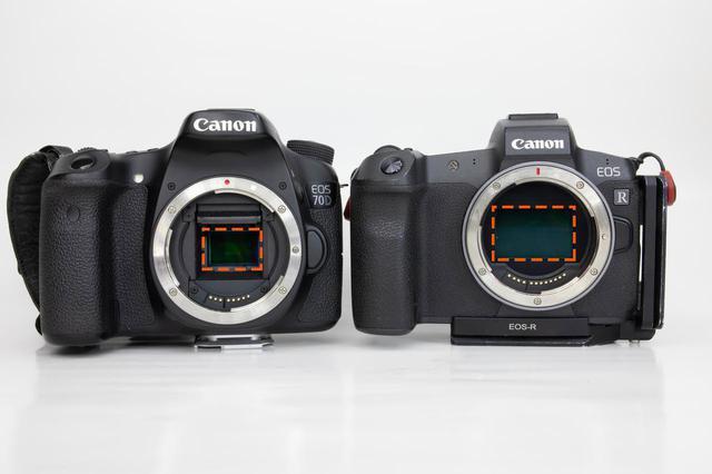 画像: 例)EOS 70D(APS-C) & EOS R(フルサイズ)赤枠内がセンサー(イメージセンサー)