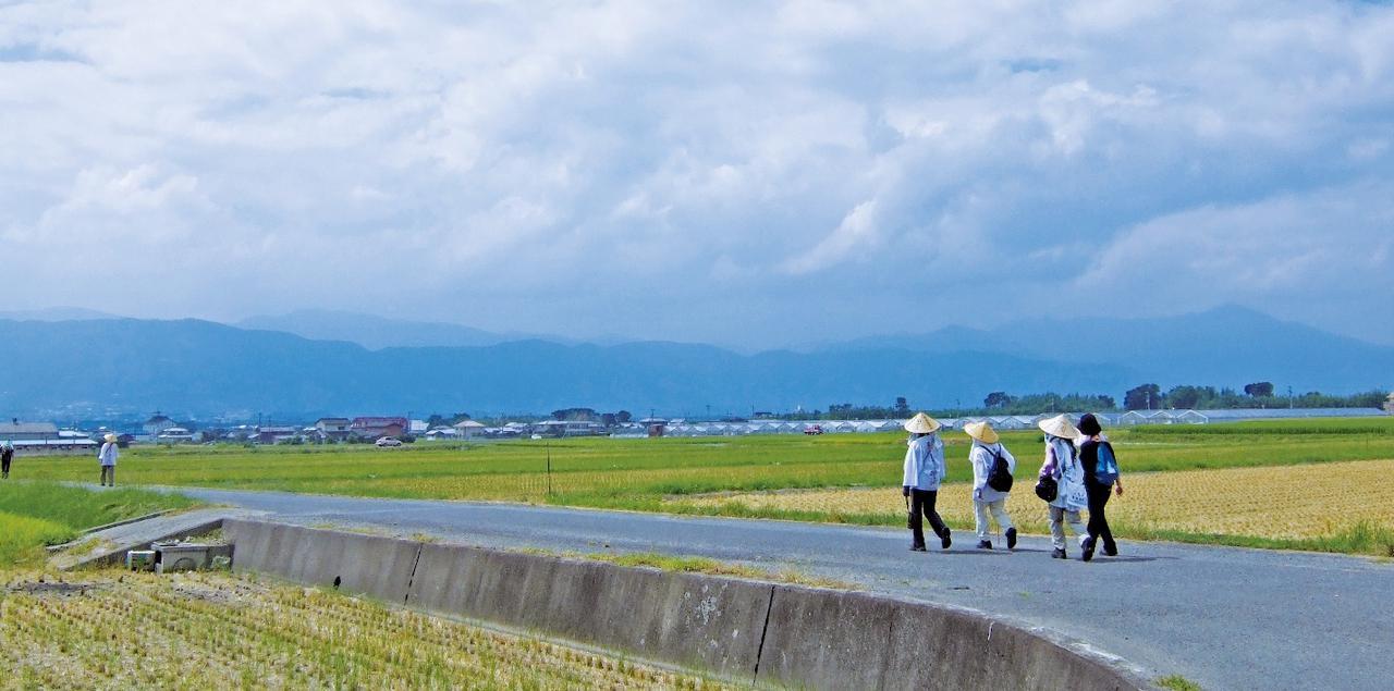 画像: 吉野川を渡る潜水橋へ続く道
