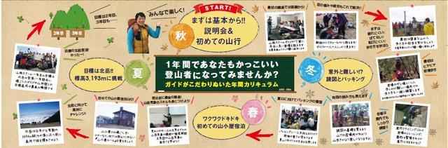 画像: 最初は机上講座での装備などをお教えする講座から始まり、 少しずつステップアップしながら最後は日本第二位の高峰「北岳」を目指します!