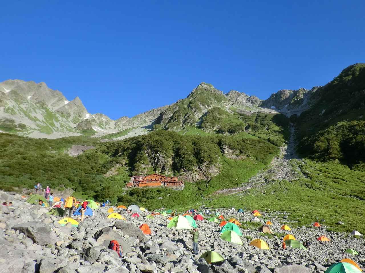 画像: テント泊の場合も必ず幕営地を管理する山小屋に届出を