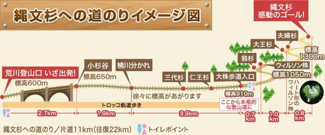 画像: 縄文杉への道のりイメージ図